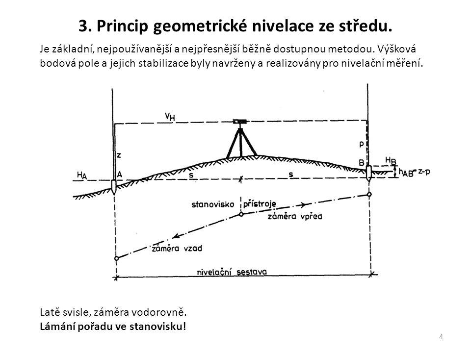 4 Je základní, nejpoužívanější a nejpřesnější běžně dostupnou metodou. Výšková bodová pole a jejich stabilizace byly navrženy a realizovány pro nivela