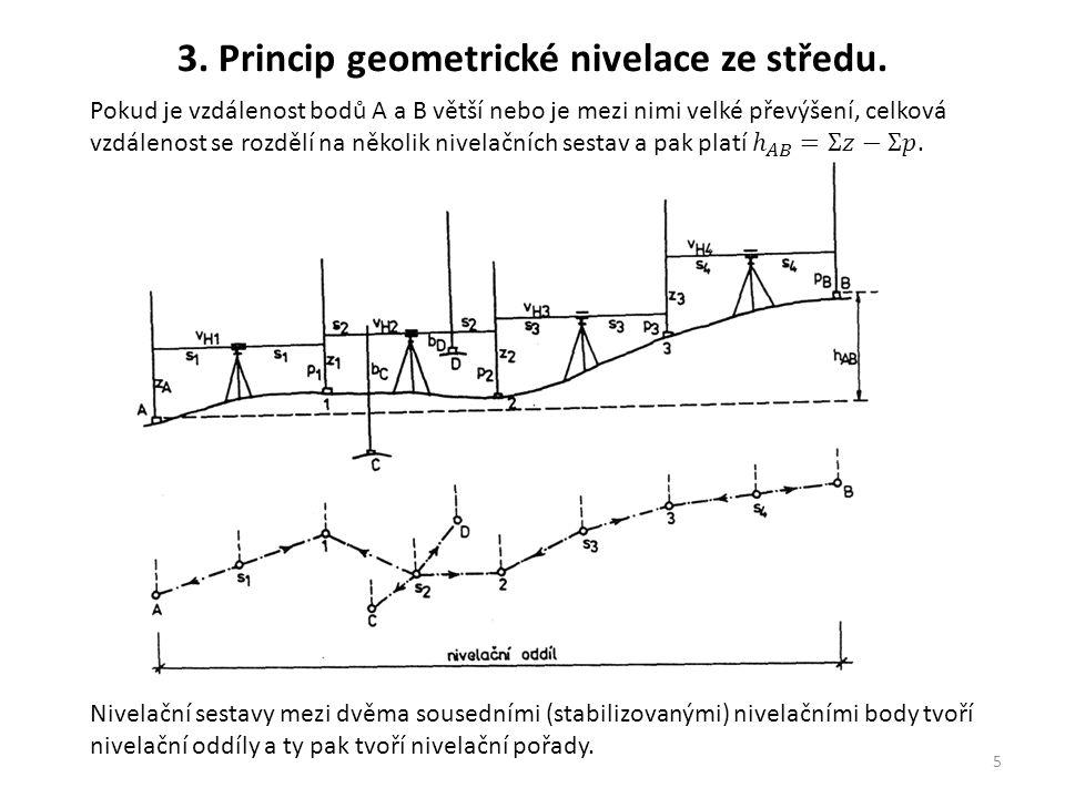 5 3. Princip geometrické nivelace ze středu. Nivelační sestavy mezi dvěma sousedními (stabilizovanými) nivelačními body tvoří nivelační oddíly a ty pa