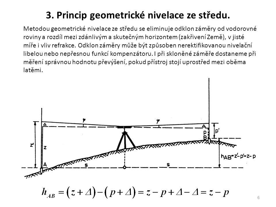 6 Metodou geometrické nivelace ze středu se eliminuje odklon záměry od vodorovné roviny a rozdíl mezi zdánlivým a skutečným horizontem (zakřivení Země