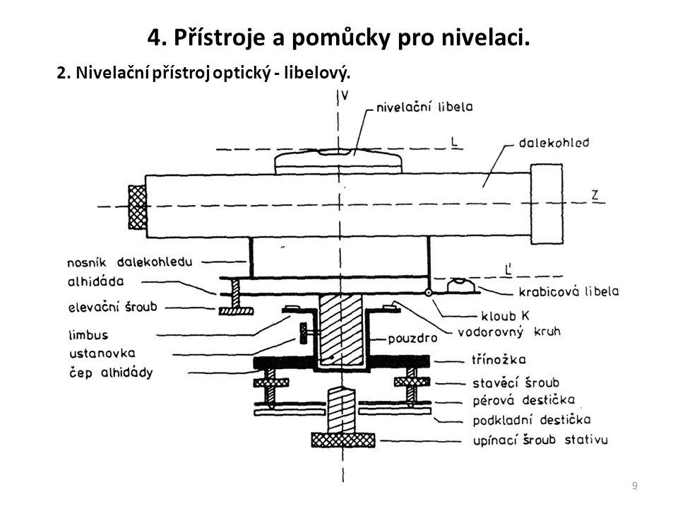 9 2. Nivelační přístroj optický - libelový. 4. Přístroje a pomůcky pro nivelaci.