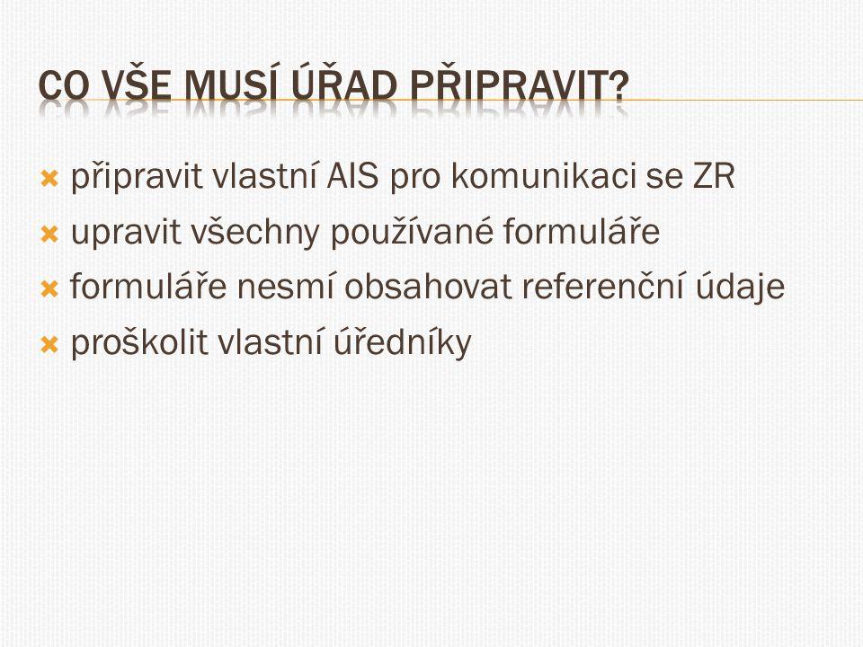  připravit vlastní AIS pro komunikaci se ZR  upravit všechny používané formuláře  formuláře nesmí obsahovat referenční údaje  proškolit vlastní úř