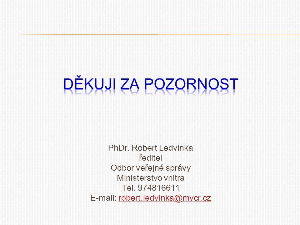 PhDr. Robert Ledvinka ředitel Odbor veřejné správy Ministerstvo vnitra Tel. 974816611 E-mail: robert.ledvinka@mvcr.czrobert.ledvinka@mvcr.cz