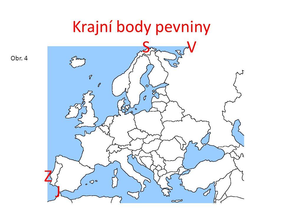 Pobřeží Evropy - je velice členěné – třetinu území představují ostrovy a poloostrovy Obr. 5
