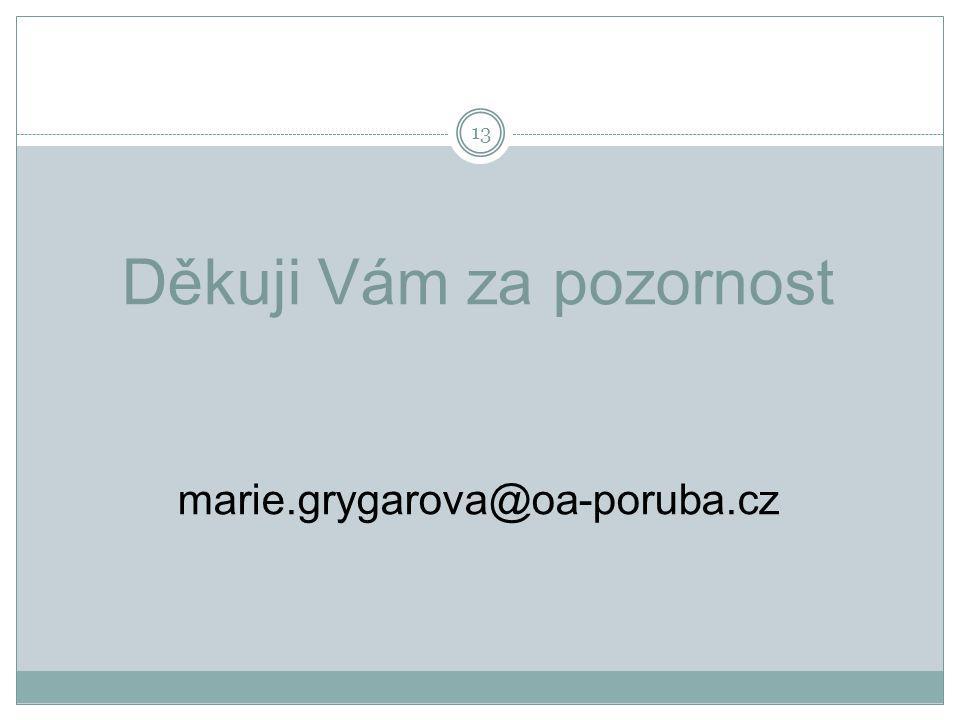 13 Děkuji Vám za pozornost marie.grygarova@oa-poruba.cz