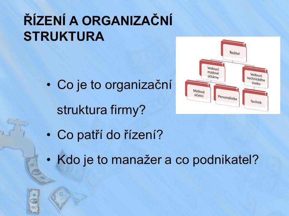 ŘÍZENÍ A ORGANIZAČNÍ STRUKTURA Co je to organizační struktura firmy.