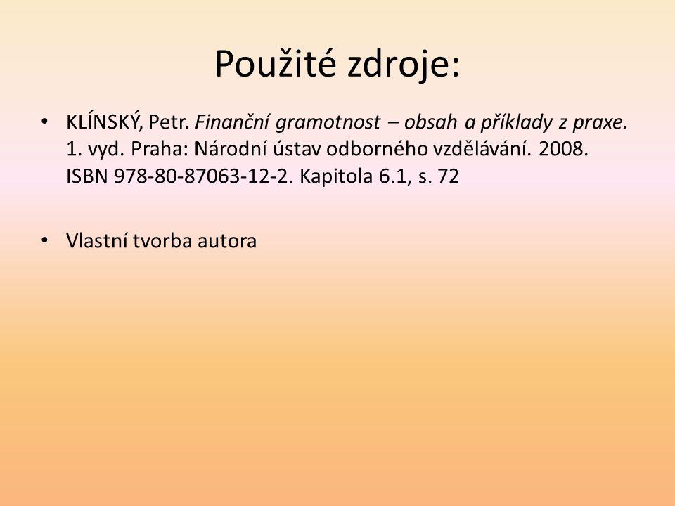 Použité zdroje: KLÍNSKÝ, Petr. Finanční gramotnost – obsah a příklady z praxe. 1. vyd. Praha: Národní ústav odborného vzdělávání. 2008. ISBN 978-80-87