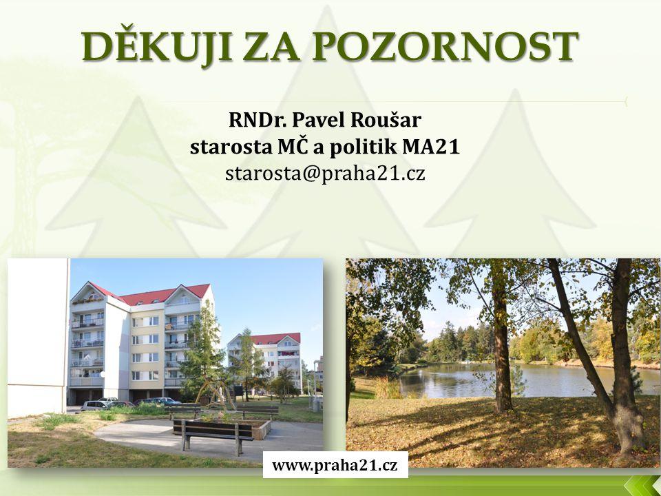 RNDr. Pavel Roušar starosta MČ a politik MA21 starosta@praha21.cz www.praha21.cz