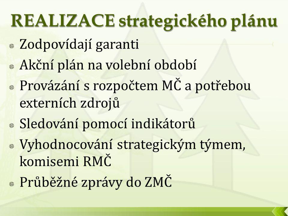  Zodpovídají garanti  Akční plán na volební období  Provázání s rozpočtem MČ a potřebou externích zdrojů  Sledování pomocí indikátorů  Vyhodnocování strategickým týmem, komisemi RMČ  Průběžné zprávy do ZMČ