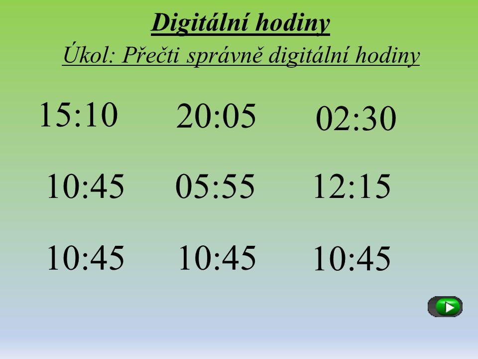 Digitální hodiny Úkol: Přečti správně digitální hodiny 15:10 20:05 02:30 10:4505:5512:15 10:45