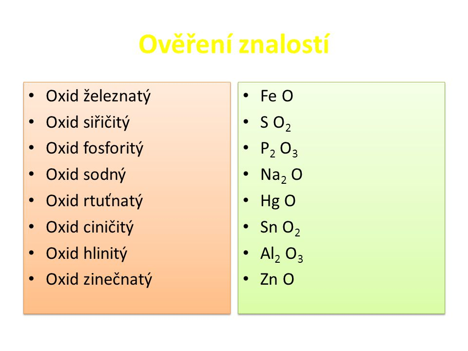 Ověření znalostí Oxid železnatý Oxid siřičitý Oxid fosforitý Oxid sodný Oxid rtuťnatý Oxid ciničitý Oxid hlinitý Oxid zinečnatý Oxid železnatý Oxid si