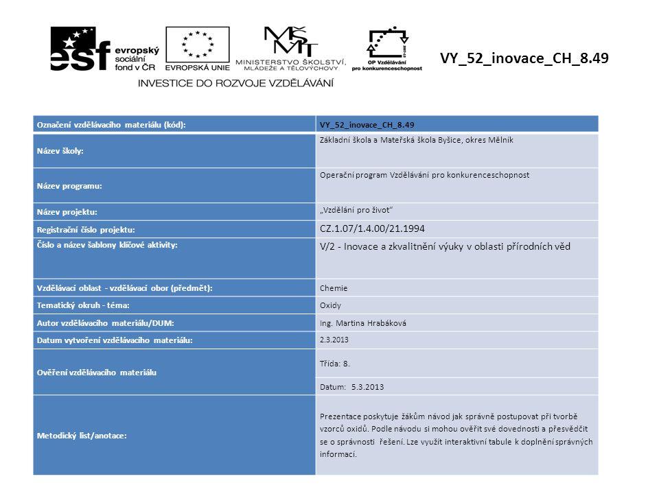 Označení vzdělávacího materiálu (kód):VY_52_inovace_CH_8.49 Název školy: Základní škola a Mateřská škola Byšice, okres Mělník Název programu: Operační