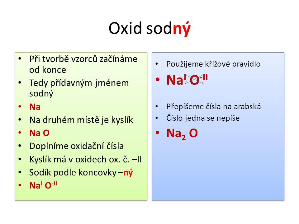 Oxid sodný Při tvorbě vzorců začínáme od konce Tedy přídavným jménem sodný Na Na druhém místě je kyslík Na O Doplníme oxidační čísla Kyslík má v oxide