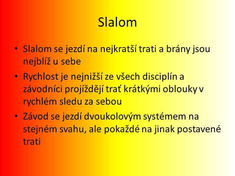 Slalom Slalom se jezdí na nejkratší trati a brány jsou nejblíž u sebe Rychlost je nejnižší ze všech disciplín a závodníci projíždějí trať krátkými obl