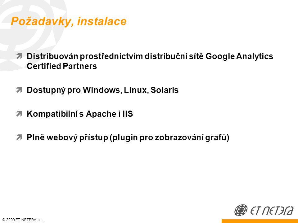 Požadavky, instalace  Distribuován prostřednictvím distribuční sítě Google Analytics Certified Partners  Dostupný pro Windows, Linux, Solaris  Kompatibilní s Apache i IIS  Plně webový přístup (plugin pro zobrazování grafů)