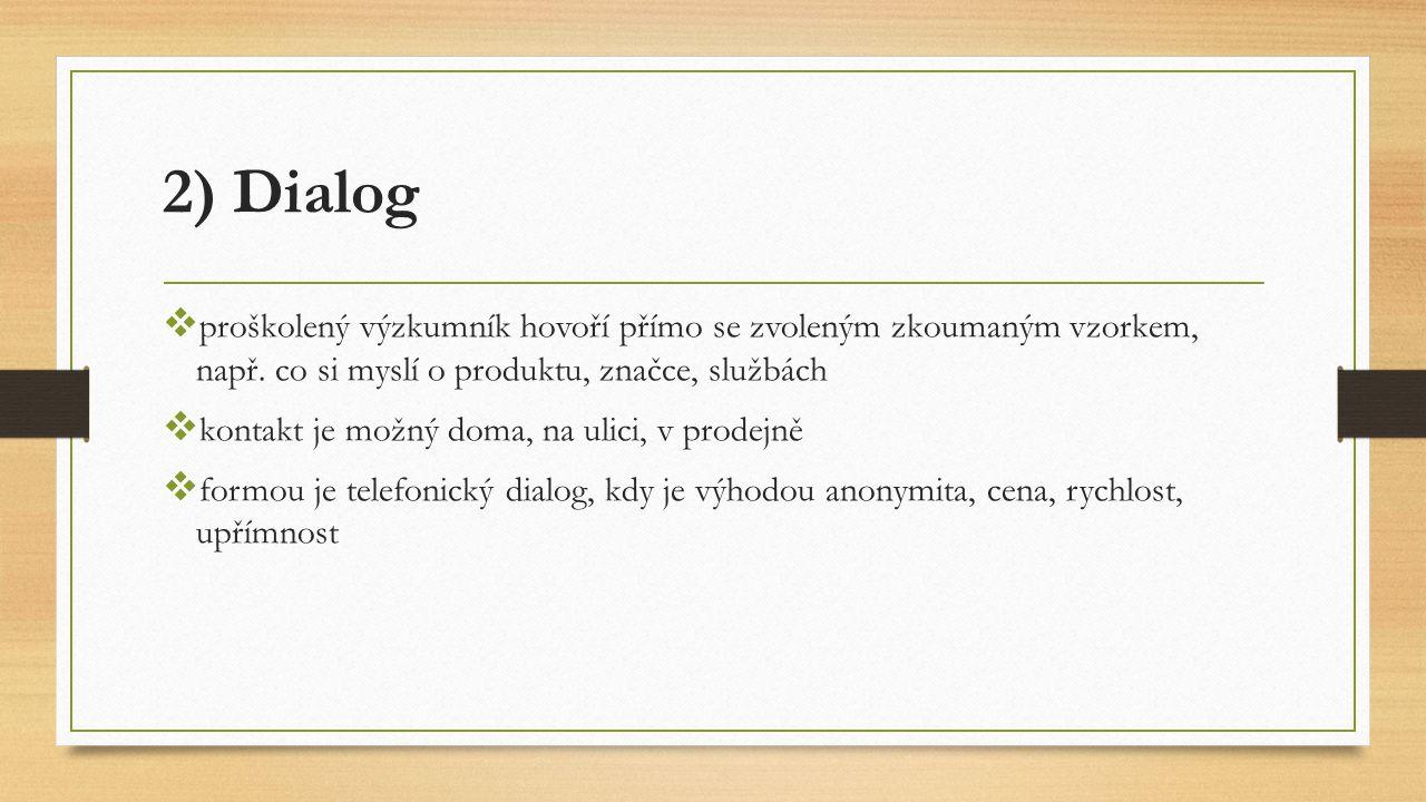 2) Dialog  proškolený výzkumník hovoří přímo se zvoleným zkoumaným vzorkem, např.