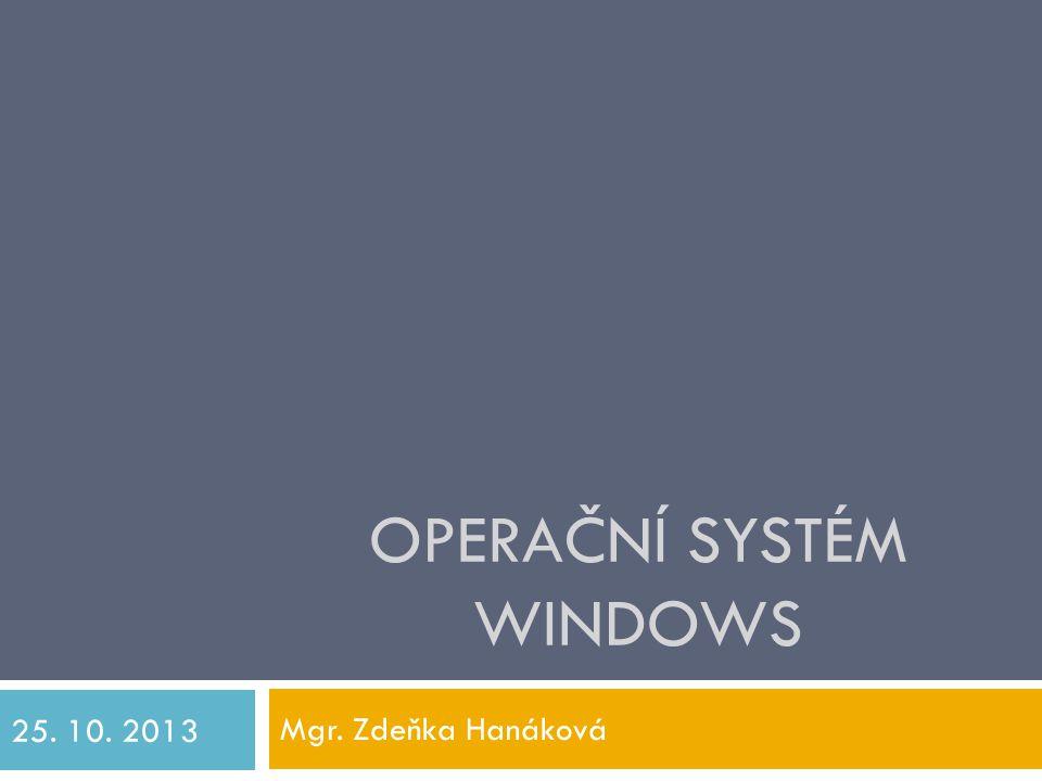 Operační systém (OS)  Nejdůležitější program, bez něj by pc nemohl fungovat  Je prostředníkem mezi hw a programy, které uživatel používá  Umí:  nastavovat počítač (klávesnici, myš, prostředí)  komunikovat s uživatelem (prostřednictvím uživatelského rozhraní)  řídit chod celého poč.