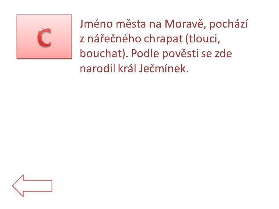 Jméno města na Moravě, pochází z nářečného chrapat (tlouci, bouchat).