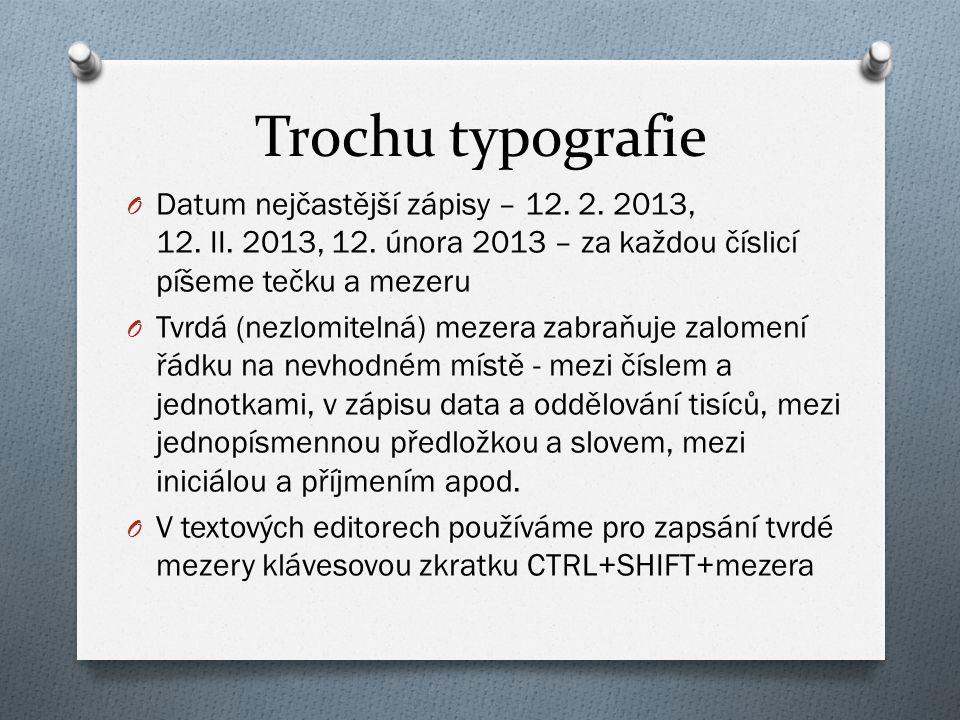Trochu typografie O Datum nejčastější zápisy – 12.
