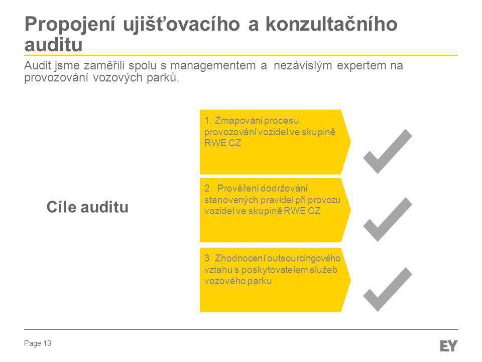 Page 13 1. Zmapování procesu provozování vozidel ve skupině RWE CZ 3. Zhodnocení outsourcingového vztahu s poskytovatelem služeb vozového parku 2. Pro