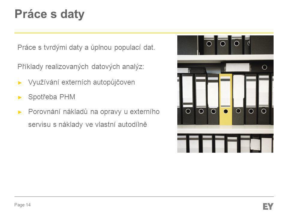 Page 14 Práce s daty Práce s tvrdými daty a úplnou populací dat. Příklady realizovaných datových analýz: ► Využívání externích autopůjčoven ► Spotřeba