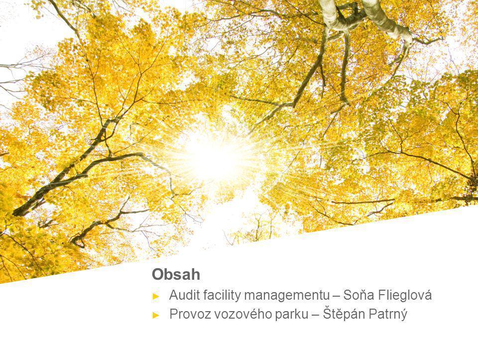 Page 2Presentation title Obsah ► Audit facility managementu – Soňa Flieglová ► Provoz vozového parku – Štěpán Patrný