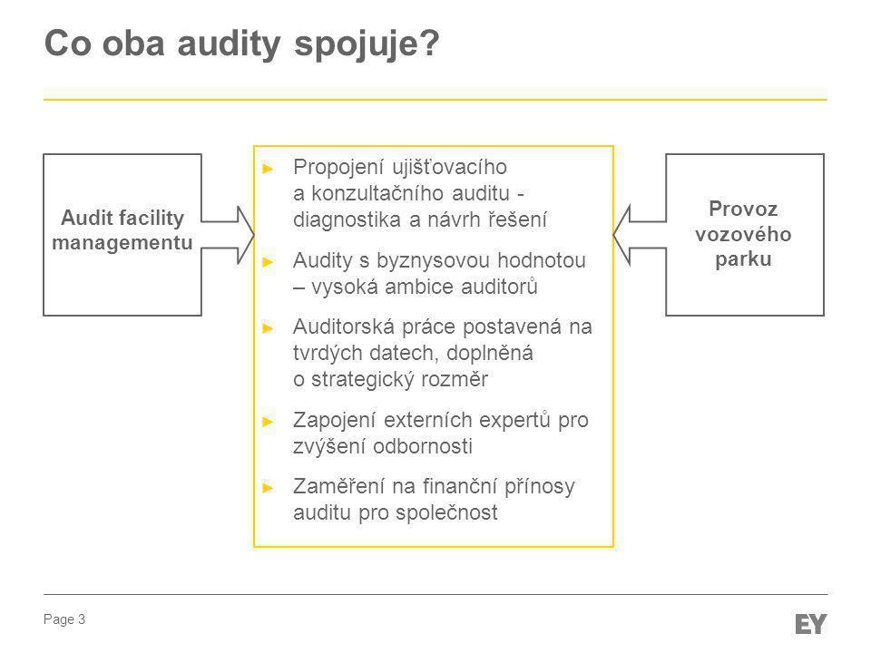 Page 3 Co oba audity spojuje? ► Propojení ujišťovacího a konzultačního auditu - diagnostika a návrh řešení ► Audity s byznysovou hodnotou – vysoká amb