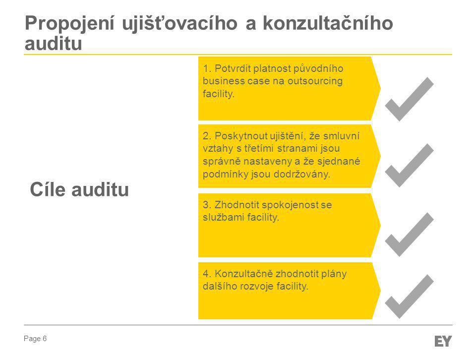 Page 6 Propojení ujišťovacího a konzultačního auditu 1. Potvrdit platnost původního business case na outsourcing facility. 4. Konzultačně zhodnotit pl