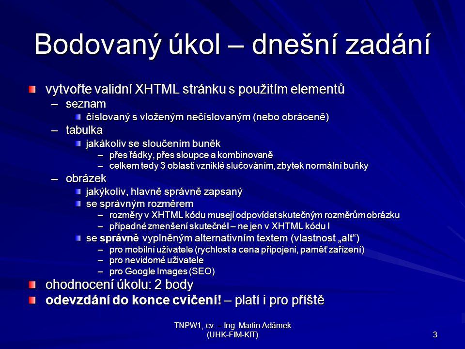 TNPW1, cv. – Ing. Martin Adámek (UHK-FIM-KIT) 3 Bodovaný úkol – dnešní zadání vytvořte validní XHTML stránku s použitím elementů –seznam číslovaný s v
