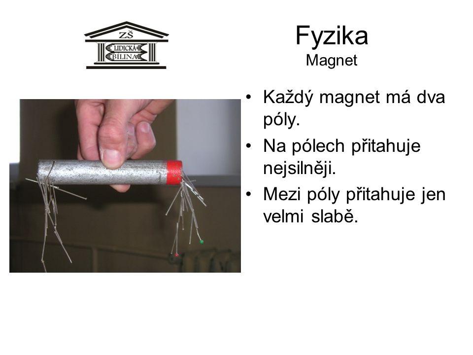 Fyzika Magnet Každý magnet má dva póly. Na pólech přitahuje nejsilněji. Mezi póly přitahuje jen velmi slabě.