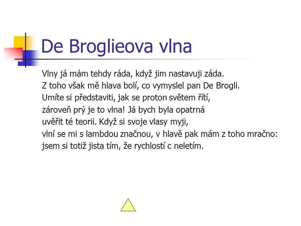 De Broglieova vlna Vlny já mám tehdy ráda, když jim nastavuji záda.