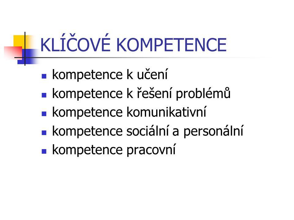 KLÍČOVÉ KOMPETENCE kompetence k učení kompetence k řešení problémů kompetence komunikativní kompetence sociální a personální kompetence pracovní