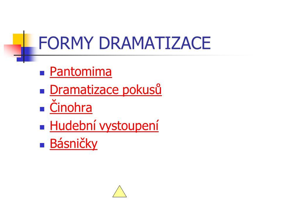 FORMY DRAMATIZACE Pantomima Dramatizace pokusů Činohra Hudební vystoupení Básničky