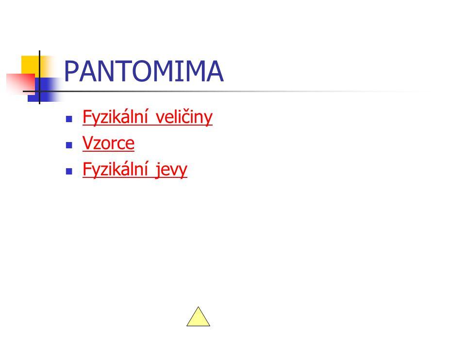 PANTOMIMA Fyzikální veličiny Vzorce Fyzikální jevy