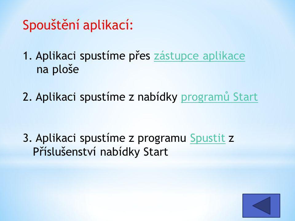Spouštění aplikací: 1. Aplikaci spustíme přes zástupce aplikace na ploše 2.