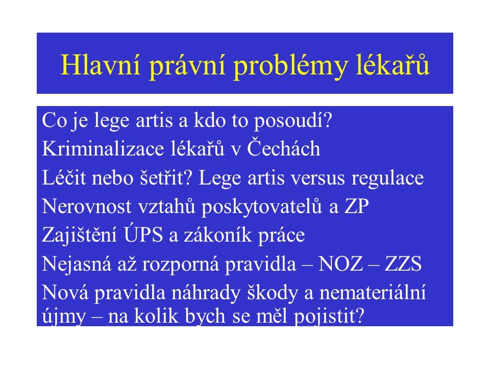Hlavní právní problémy lékařů Co je lege artis a kdo to posoudí? Kriminalizace lékařů v Čechách Léčit nebo šetřit? Lege artis versus regulace Nerovnos