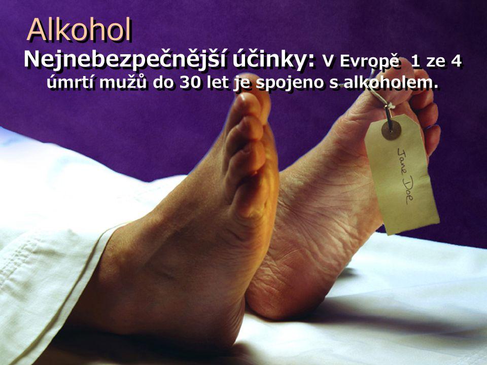 Nejnebezpečnější účinky: V Evropě 1 ze 4 úmrtí mužů do 30 let je spojeno s alkoholem. Alkohol