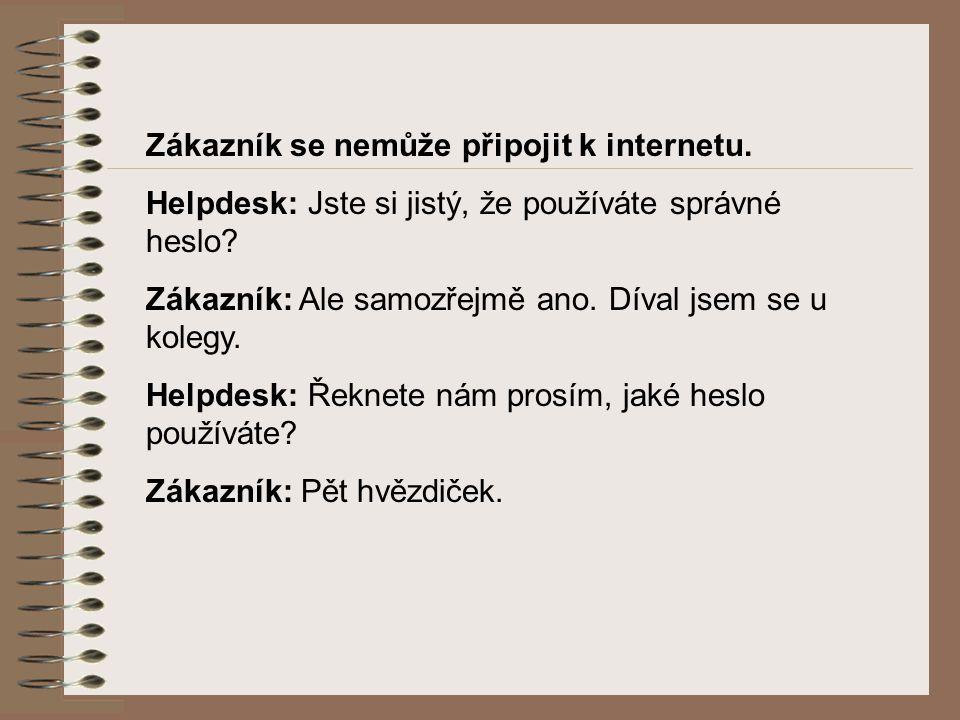 Zákazník se nemůže připojit k internetu. Helpdesk: Jste si jistý, že používáte správné heslo.