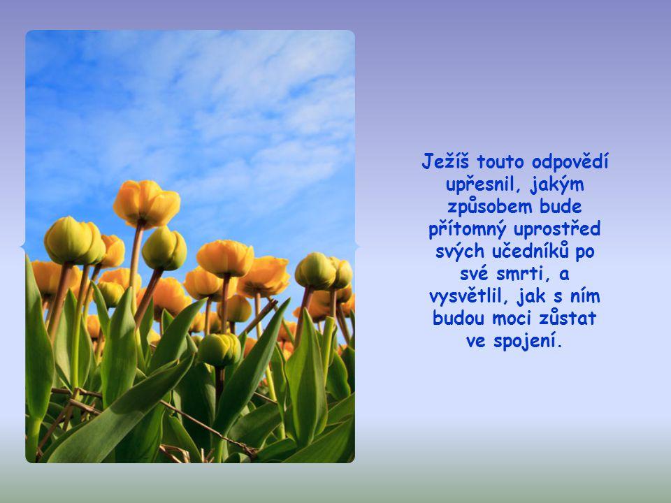 Ježíš však odpověděl, že jeho příchod nebude velkolepý navenek. Bude to prostý, mimořádný příchod Nejsvětější Trojice do srdcí věřících, k němuž dochá
