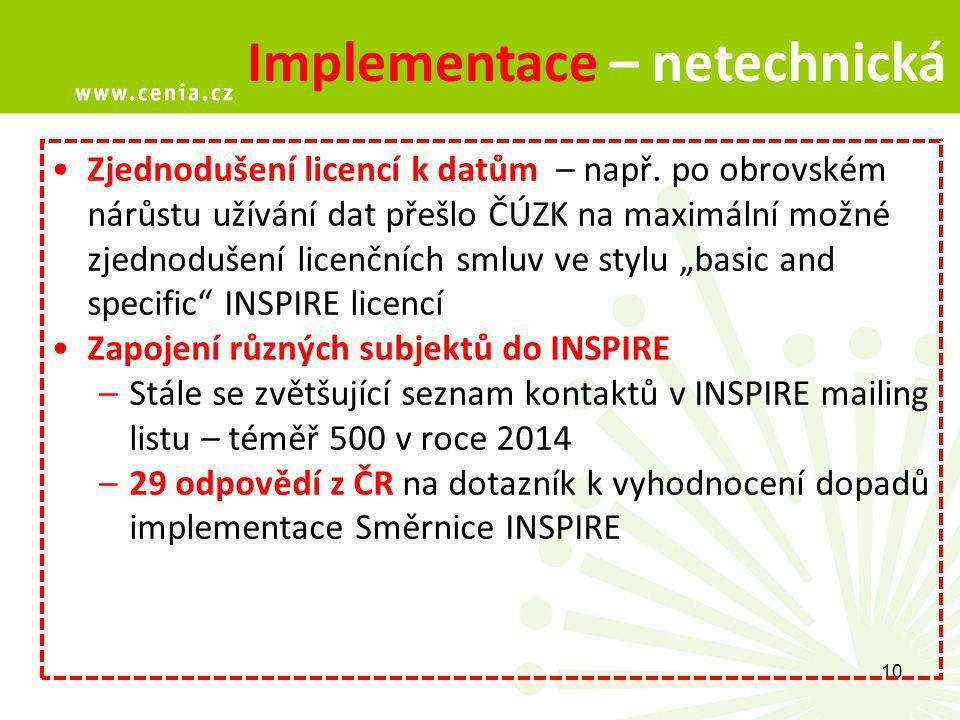 10 Implementace – netechnická Zjednodušení licencí k datům – např.