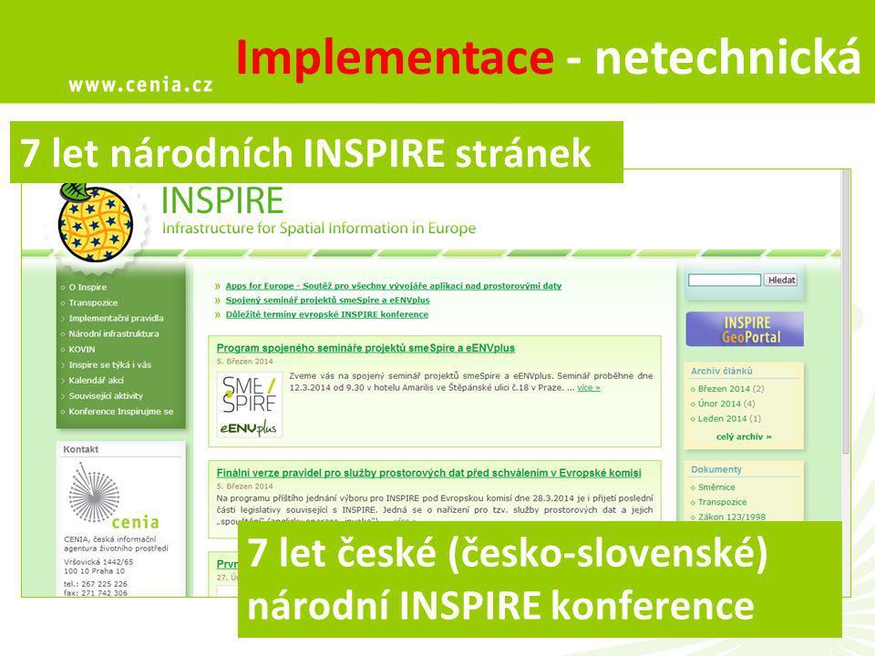 12 Implementace - netechnická 7 let české (česko-slovenské) národní INSPIRE konference 7 let národních INSPIRE stránek