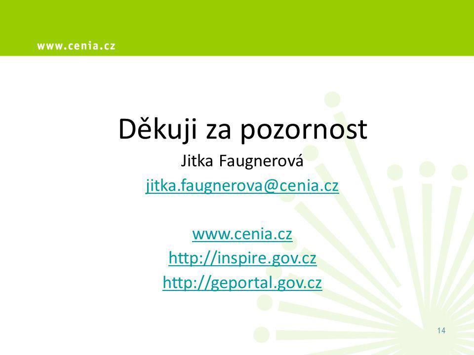 Děkuji za pozornost Jitka Faugnerová jitka.faugnerova@cenia.cz www.cenia.cz http://inspire.gov.cz http://geportal.gov.cz 14