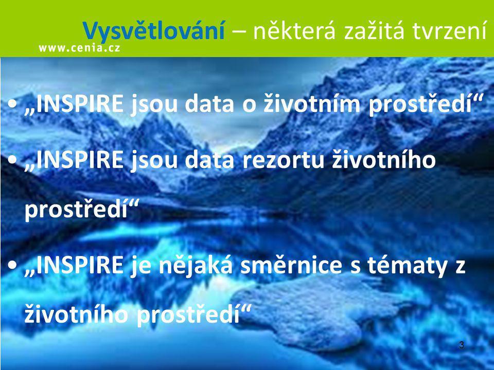 """3 Vysvětlování – některá zažitá tvrzení """"INSPIRE jsou data o životním prostředí """"INSPIRE jsou data rezortu životního prostředí """"INSPIRE je nějaká směrnice s tématy z životního prostředí"""