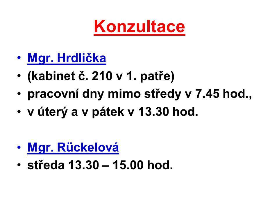 Konzultace Mgr. Hrdlička (kabinet č. 210 v 1. patře) pracovní dny mimo středy v 7.45 hod., v úterý a v pátek v 13.30 hod. Mgr. Rückelová středa 13.30
