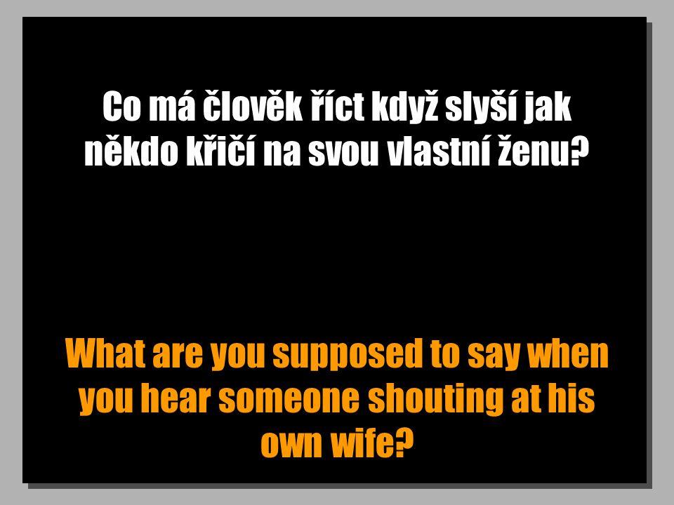 Co má člověk říct když slyší jak někdo křičí na svou vlastní ženu? What are you supposed to say when you hear someone shouting at his own wife?