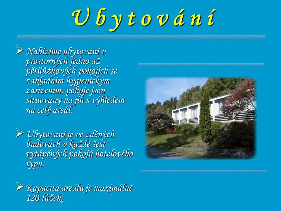 U b y t o v á n í  Nabízíme ubytování v prostorných jedno až pětilůžkových pokojích se základním hygienickým zařízením, pokoje jsou situovány na jih