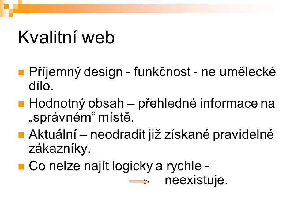 """Kvalitní web Příjemný design - funkčnost - ne umělecké dílo. Hodnotný obsah – přehledné informace na """"správném"""" místě. Aktuální – neodradit již získan"""