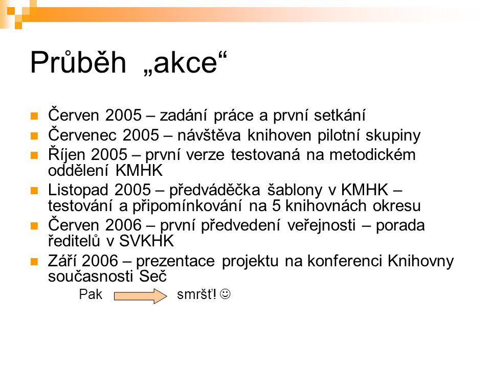 """Průběh """"akce"""" Červen 2005 – zadání práce a první setkání Červenec 2005 – návštěva knihoven pilotní skupiny Říjen 2005 – první verze testovaná na metod"""