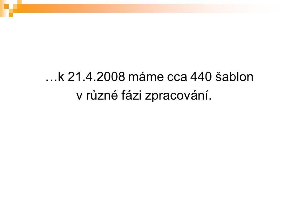 …k 21.4.2008 máme cca 440 šablon v různé fázi zpracování.