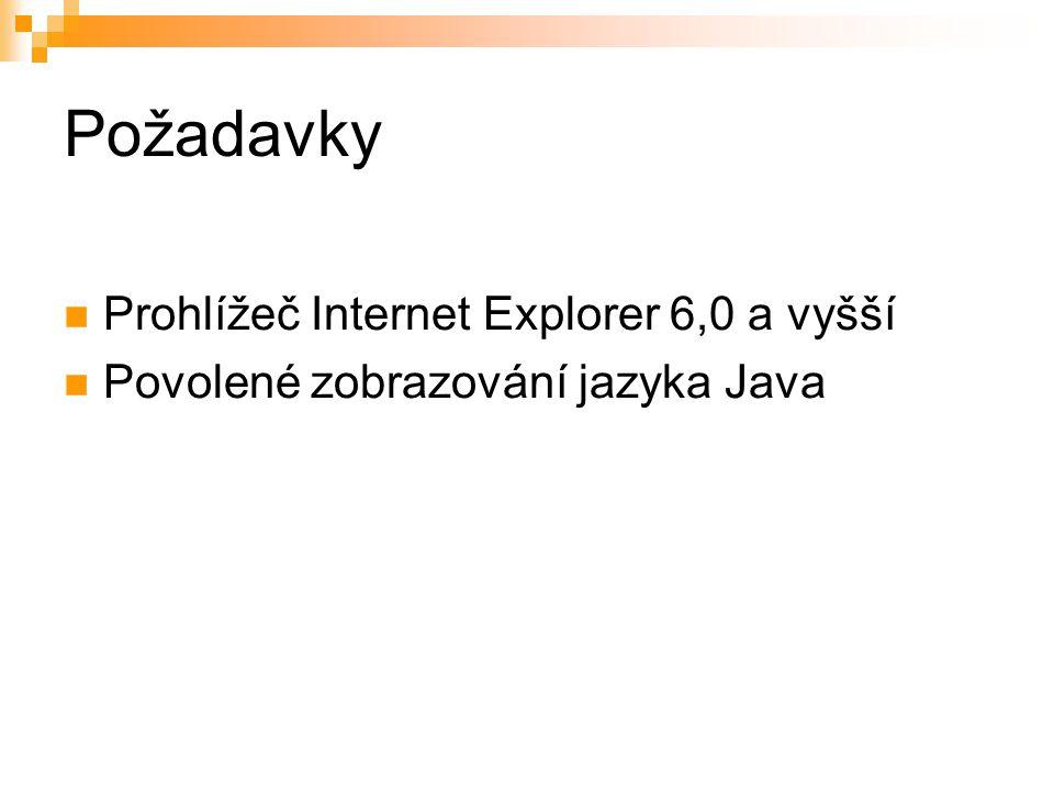 Požadavky Prohlížeč Internet Explorer 6,0 a vyšší Povolené zobrazování jazyka Java