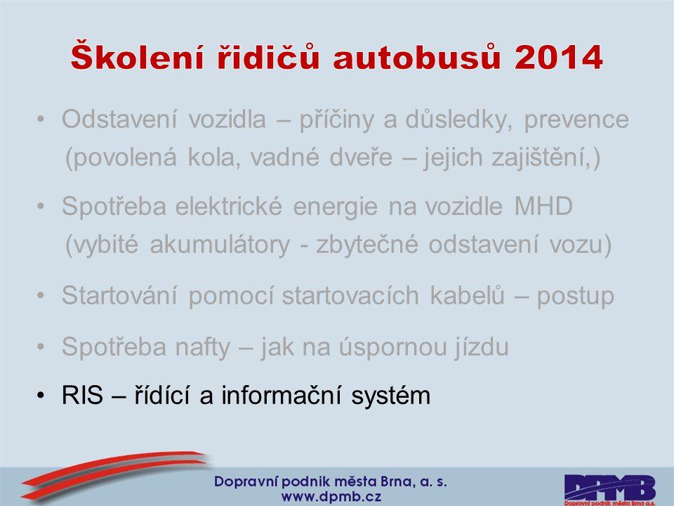 Odstavení vozidla – příčiny a důsledky, prevence (povolená kola, vadné dveře – jejich zajištění,) Spotřeba elektrické energie na vozidle MHD (vybité a
